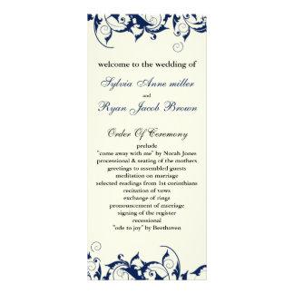 programa del boda del azul real y de la marfil