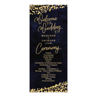 Programa del boda del confeti del oro de la