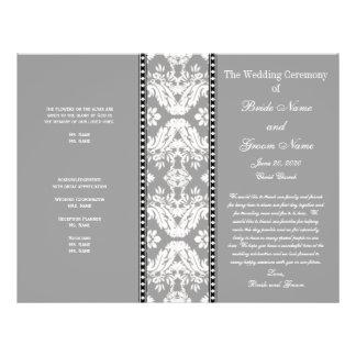 Programa del boda del damasco del blanco gris folleto 21,6 x 28 cm