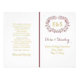 Programa del boda del marco de la guirnalda del folleto 21,6 x 28 cm