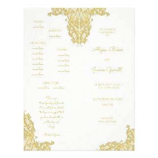 Programa del boda del oro y de la marfil del folleto 21,6 x 28 cm