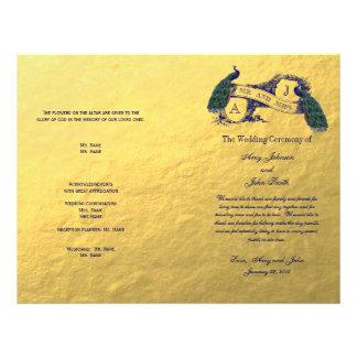 Programa del boda del pavo real del oro folleto 21,6 x 28 cm