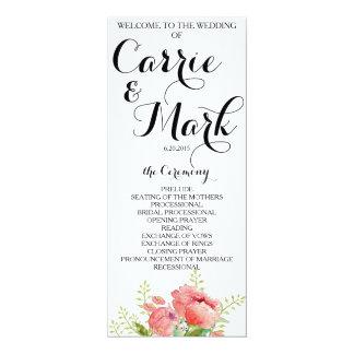 Programa del boda del Peony de la primavera Invitación 10,1 X 23,5 Cm