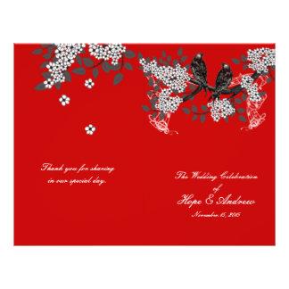 Programa del boda del rojo cereza de los pájaros folleto 21,6 x 28 cm