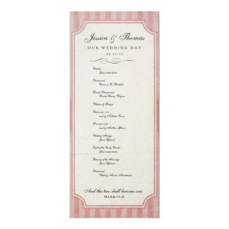 Programa del boda del rosa de la fresa del encanto invitación 10,1 x 23,5 cm