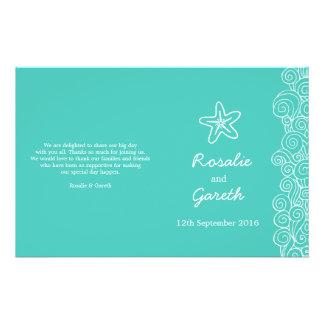 Programa del boda del verde de la estrella de mar  tarjetones