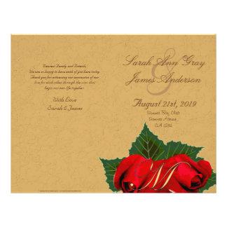 Programa del boda del vintage de los rosas rojos folleto 21,6 x 28 cm