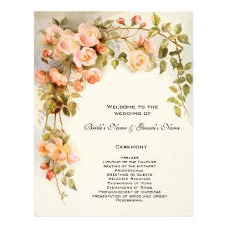 Programa del boda del vintage, flores color de folleto 21,6 x 28 cm