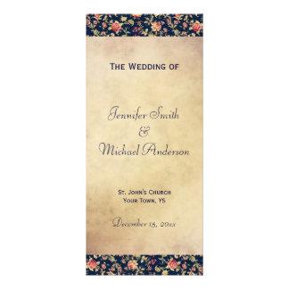 Programa del boda para el azul elegante del vintag tarjeta publicitaria