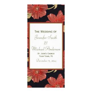 Programa del boda para el boda floral negro rojo folleto publicitario 10 x 22,8 cm
