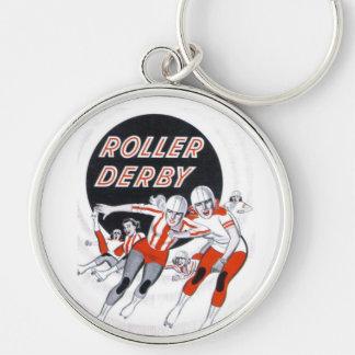 Programa del vintage de Derby del rodillo - Llavero Redondo Plateado