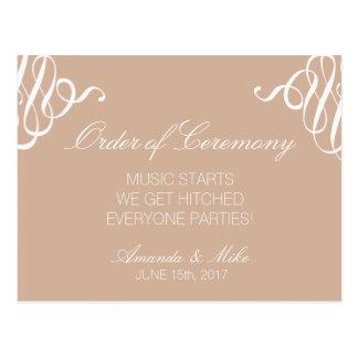 Programa divertido y simple del boda postal