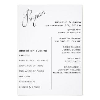 Programa elegante blanco y negro del boda invitación 12,7 x 17,8 cm