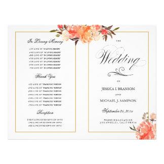 Programa elegante del boda de la caída del tacto