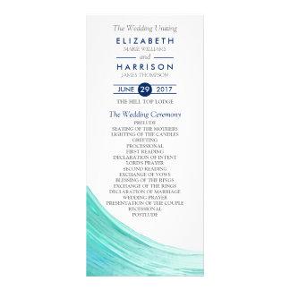 Programa elegante del boda de playa de las mareas tarjetas publicitarias