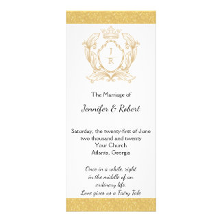 Programa elegante del boda del monograma del oro