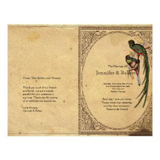 Programa elegante del boda del pájaro de quetzal folleto 21,6 x 28 cm