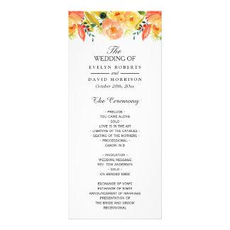 Programa elegante floral del boda de la caída del