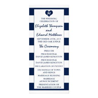 Programa elegante moderno del boda de los azules tarjeta publicitaria