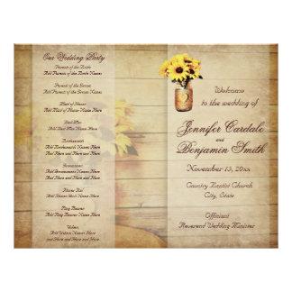 Programa envuelto guita del boda del girasol del folleto 21,6 x 28 cm