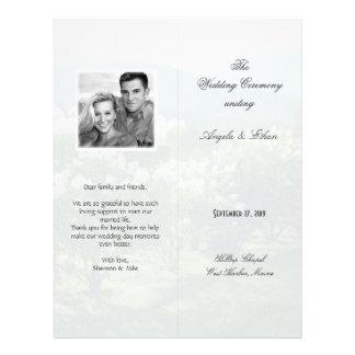 Programa escénico alto, doblado del boda del fondo folleto 21,6 x 28 cm