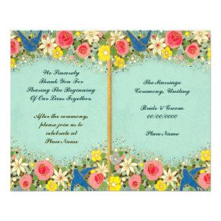 programa floral colorido del boda folleto 11,4 x 14,2 cm