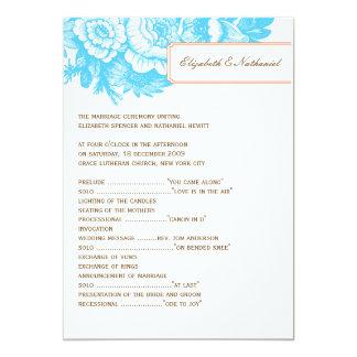 Programa floral de lujo del boda en azul y naranja invitación 12,7 x 17,8 cm