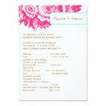 Programa floral de lujo del boda en rosa y azul invitación 12,7 x 17,8 cm