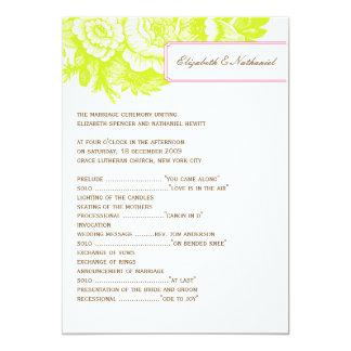 Programa floral de lujo del boda en verde y rosa invitación 12,7 x 17,8 cm