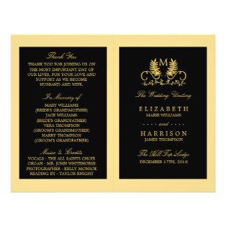 Programa floral de oro del boda del emblema folleto 21,6 x 28 cm
