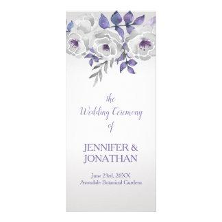 Programa floral de plata gris púrpura del boda