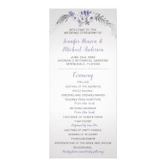 Programa floral de plata gris púrpura del boda V#2