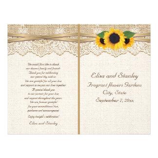 Programa floral del boda de la arpillera del folleto 21,6 x 28 cm