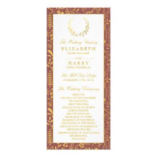 Programa floral del boda de la guirnalda del oro lonas personalizadas