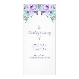 Programa floral del boda de la menta púrpura de la