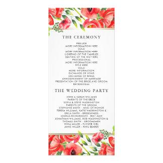Programa floral del boda de las amapolas rojas de