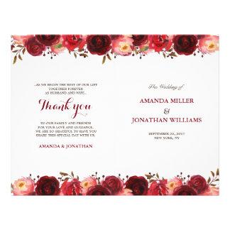Programa floral del boda de los rosas rojos de