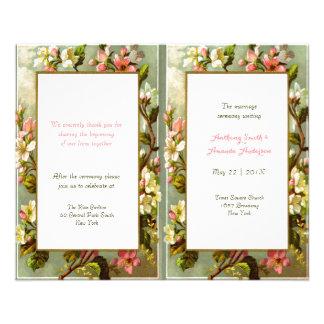 Programa floral del boda del marco del vintage