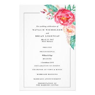 Programa floral del boda del monograma tropical folleto 14 x 21,6 cm