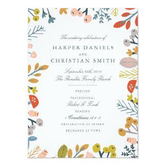 Programa floral del boda del otoño invitación 13,9 x 19,0 cm