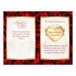 Programa floral del boda del rosa rojo del BI-Dobl Tarjetas Informativas