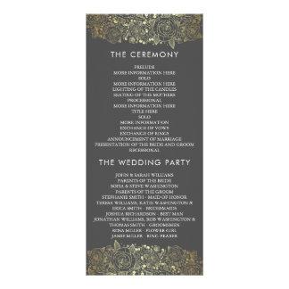 Programa floral elegante del oro y del boda del lonas personalizadas
