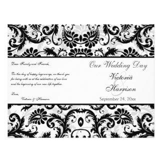 Programa floral negro, blanco, gris del boda del