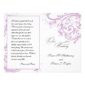 Programa floral púrpura elegante del boda folleto 21,6 x 28 cm