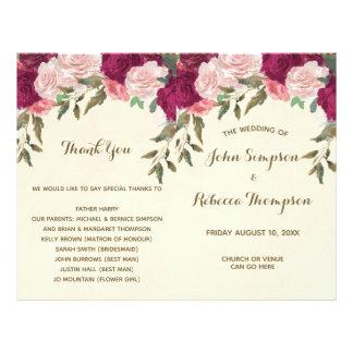 programa floral rosado de la ceremonia de boda de