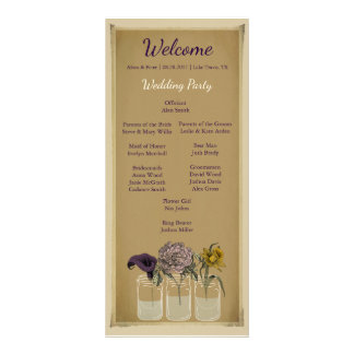 Programa floral rústico de la ceremonia de boda