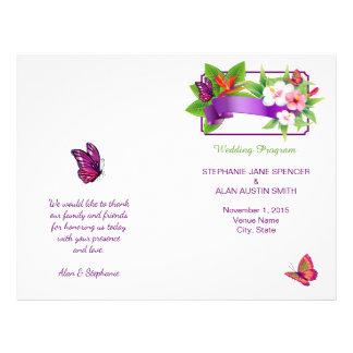Programa floral tropical del boda de la mariposa folleto 21,6 x 28 cm