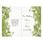 Programa floral verde elegante del boda del doblez tarjeton