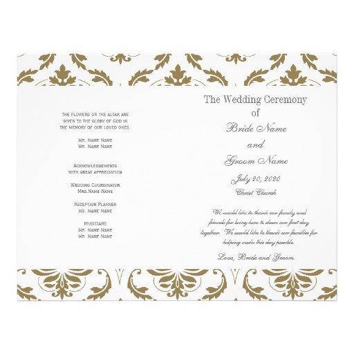 Programa gris del boda del damasco del vintage del tarjetón