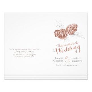 Programa gris marrón del boda del otoño del folleto 11,4 x 14,2 cm
